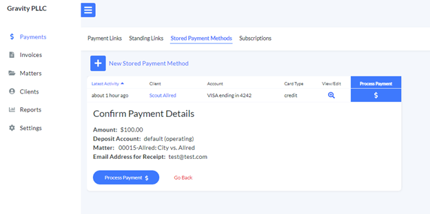 Confirm stored payment method