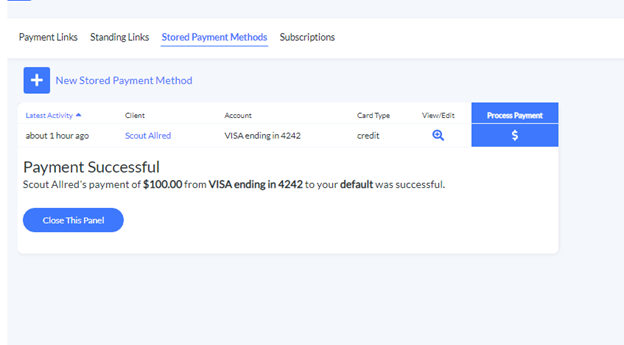 successful stored payment method