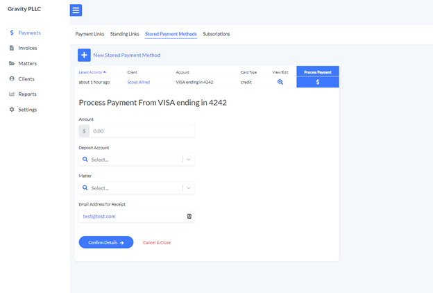 Process a stored payment method