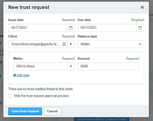 New Clio trust request